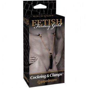 Сбруя на пенис и зажимы для сосков Gold Cockring&Nipple Clamps