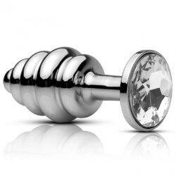 Маленькая анальная втулка Metal Worx Mini Ribbed Plug с кристаллом