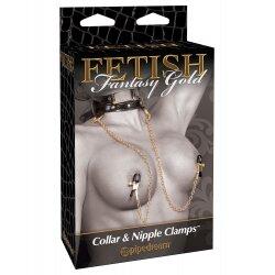 Стильный ошейник с зажимами для сосков Gold Collar and Nipple Clamps