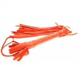 Плетка кожаная с мягкими шнурами, красная