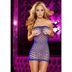 Облегающее платье из синей сетки