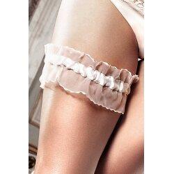 Подвязка белая из тюля с рюшечками